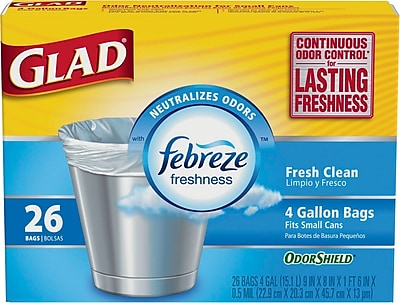 Glad Odorshield Trash Bags Fresh Clean Scent 4 Gallon 26 Trash Bags Box