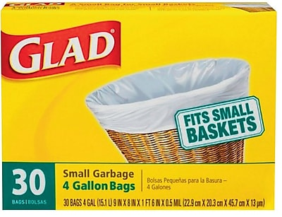 Glad Small Garbage Bags 4 Gallon 30 Trash Bags Box