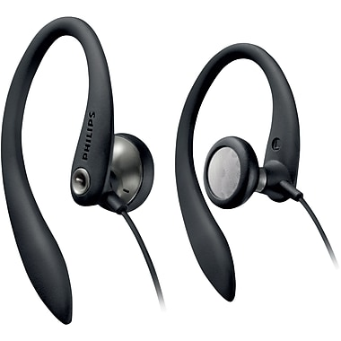 Philips SHS3200BL/37 Flexible Earhook Headphones, Black