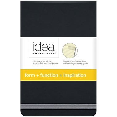 Idea Collective® Softcover Journal, Top Bound, Wide Rule, Black, 3-1/2