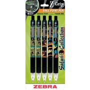 Zebra® Z-Grip™ Safari Collection Retractable Ballpoint Pens, Medium Point, Assorted, 5/Pack