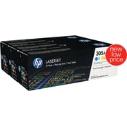 HP 305A C/M/Y Color Toner Cartridges, 3/Pack (CF370AM)