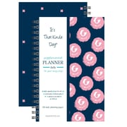 "Kahootie Co™ It's That Kinda Day™ - Daily Planner, 6"" x 9"", Navy and Pink Polka Dots (ITKDNPPD)"