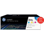 HP 304A C/M/Y Color Toner Cartridges, Combo 3/Pack (CF340A)