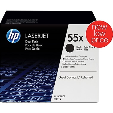 HP 55X Black Toner Cartridge, High-Yield Twin-Pack (CE255XD)