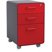 Poppin Charcoal + Red  Stow 3-Drawer File Cabinet, Rolling, Fully Loaded