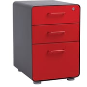 Poppin Charcoal + Red Stow 3-Drawer File Cabinet, Fully Loaded