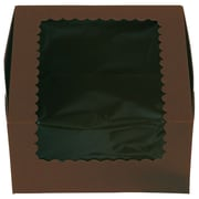 "Cardboard 4""H x 7""W x 7""L Windowed Standard Cupcake Boxes, Chocolate, 200/Pack"