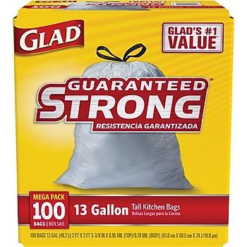 Glad 13-Gallon Guaranteed Strong Trash Bags 100-Pack