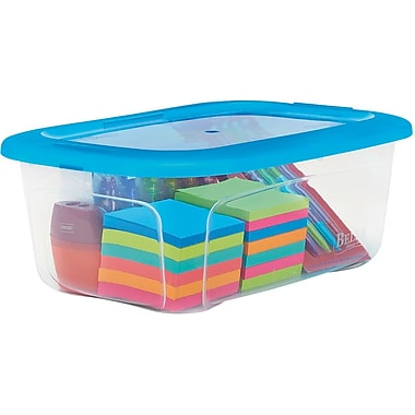 Staples 6 QT Shoe Box Tote, Clear with Blue Lid (27593)