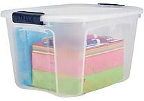 Staples 40 Quart Plastic Locking Lid Container, 6/Case