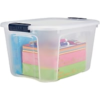 Staples 40 Quart Plastic Container Clear with Locking Lid