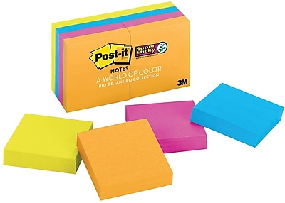 "Post-it® Super Sticky 2"" x 2"" Jewel Pop Notes, 8 Pads/Pack"