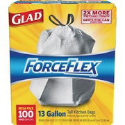 Glad® ForceFlex® Tall Kitchen Drawstring Trash Bags, 13 Gallon, 100 Bags/Box