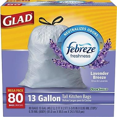 Glad® OdorShield® Tall Kitchen Drawstring Trash Bags, Lavender, 13 Gallon, 80 Count