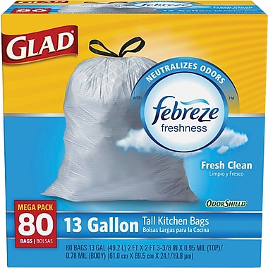 Glad® OdorShield® Tall Kitchen Drawstring Trash Bags, Fresh Clean, 13 Gallon, 80 Bags/Box