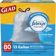 Glad® OdorShield® Tall Kitchen Drawstring Trash Bags, Fresh Clean, 13 Gallon, 80 Bags/Box