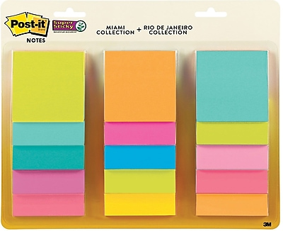 "3M™ Post-it® 3"" x 3"" Miami Super Sticky Note, Assorted (654-15SSMULTI2)"
