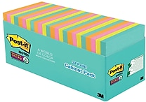 Post-it® Super Sticky Notes, 3' x 3', Miami Collection, 24 Pads/Pack (654-24SSMIA-CP)