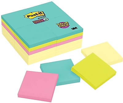 "Post-it® Super Sticky Notes, 3"" x 3"", Miami Collection, 24 Pads/Pack (654-24SSCYM)"