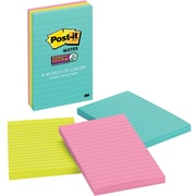"Post-it® Super Sticky Notes, 4"" x 6"", Miami Collection, Lined, 3 Pads/Pack (660-3SSMIA)"
