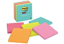Post-it® Super Sticky Notes, 4' x 4', Miami Collection, Lined, 6 Pads/Pack (675-6SSMIA)
