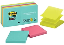 Post-it® Super Sticky Pop-up Notes, 3' x 3', Miami Collection, 10 Pads/Pack (R330-10SSMIA)