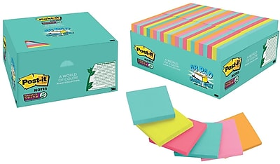 """Post-it® Super Sticky Notes, 3"""" x 3"""", Miami Collection, 48 Pads/Pack (654-48SSMIA)"""