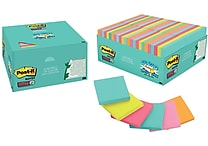 Post-it® Super Sticky Notes, 3' x 3', Miami Collection, 48 Pads/Pack (654-48SSMIA)