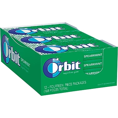 Orbit® Sugar-Free Gum, Spearmint, 12 Packs/Box