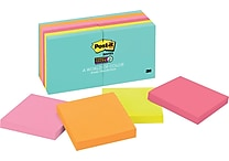 Post-it® Super Sticky Notes, 3' x 3', Miami Collection, 12 Pads/Pack (654-12SSMIA)