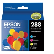 Epson T288 Black and Color CMY DuraBrite Ultra Ink Cartridges, (T288120-BCS) Combo 4/Pack