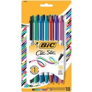 Bic Clic Stic Retractable Ballpoint Pens, Medium Point, Assorted, 18/Pack (CSMAP18AST)