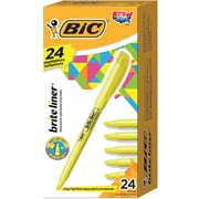 BIC® Brite Liner® Highlighters, Chisel Point, Yellow, 24/Pack