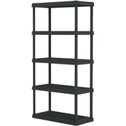 Shelves, 5 Tier Heavy Duty Plastic Shelving - Black