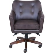 La-Z-Boy Kelsey Leather Computer and Desk Office Chair, Fixed Arms, Brown (47360)