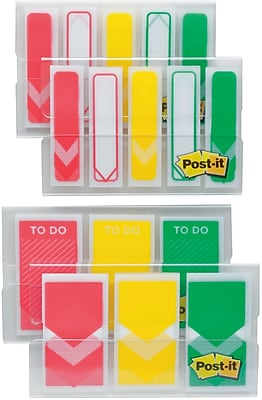 """Post-it® Arrow Prioritization Flags Value Pack, Assorted Colors, 1"""" and 1/2"""", 320 Flags/Pack"""