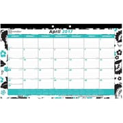 "2017 Brownline® 17-3/4"" x 10-7/8"" Monthly Desk Pad Calendar, Blossom Design(C195112)"