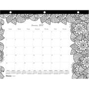 "2017 Blueline® 11"" x 8-1/2"" Monthly Doodle Plan Coloring Desk Pad Calendar, Botanica, 3 Hole Punched (C2917211)"