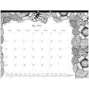 "2017 Blueline® 22"" x 17"" Monthly Doodle Plan Coloring Desk Pad Calendar, Botanica(C2917311)"