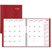 "Brownline® 2017 CoilPro™ Monthly Planner, 14 Months, 11"" x 8-1/2"", Hard Cover, Red (CB1262C.RED)"