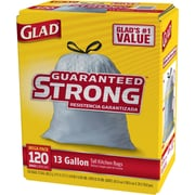 Glad Tall Kitchen Drawstring Trash Bags 13 Gallon, 120 Bags/Box