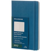 "2017, Moleskine, Large 5"" x 8.25"", 12M Weekly Notebook, Jan - Dec 2017, Steel Blue, Hard Cover (8051272894110)"