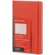 "2017, Moleskine, Large 5"" x 8.25"", 12M Weekly Notebook, Jan - Dec 2017, Coral Orange, Hard Cover (8051272894127)"