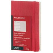 "2017, Moleskine, Pocket 3.5"" x 5.5"", 12M Weekly Notebook, Jan - Dec 2017, Scarlet Red, Soft Cover (8051272894875)"