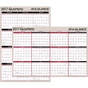 "AT A GLANCE® Horizontal/Vertical Erasable Yearly Wall Calendar, Reversible, 2017, 36"" x 24"" (A123 17)"