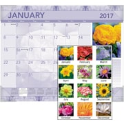 "AT-A-GLANCE® Monthly Desk Pad, 2017, 22"" x 17"", Antique Floral (DMD135 32 17)"