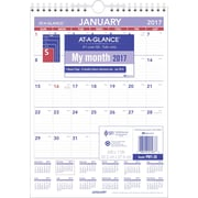 "AT A GLANCE® Mini Monthly Wall Calendar, 2017, 8"" x 11"" (PM1 28 17)"
