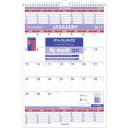 "AT-A-GLANCE® 3 Month Wall Calendar, 2017, 15 1/2"" x 22 3/4"" (PM6 28 17)"