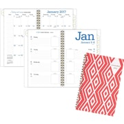 "AT A GLANCE®Weekly/Monthly Planner, 2017, 4 7/8"" x 8"",Geos , Red Diamonds Design (135R 200 17)"